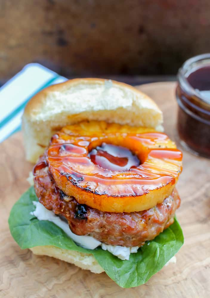Asian grilled pork burgers with pineapple