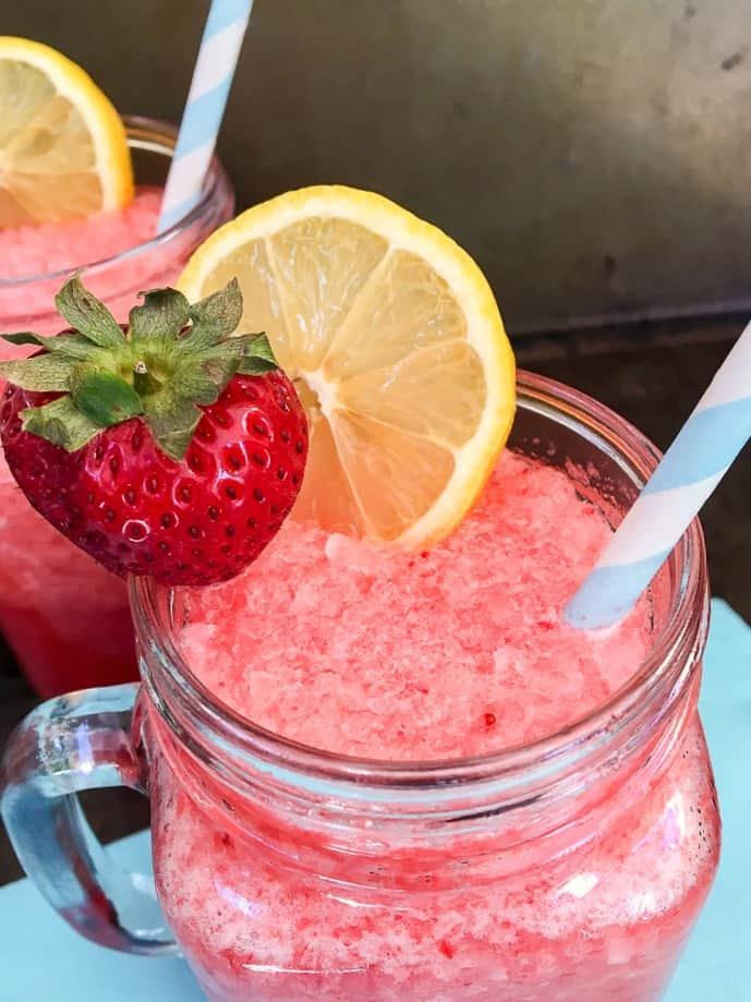 Boozy Strawberry Lemonade Slushy
