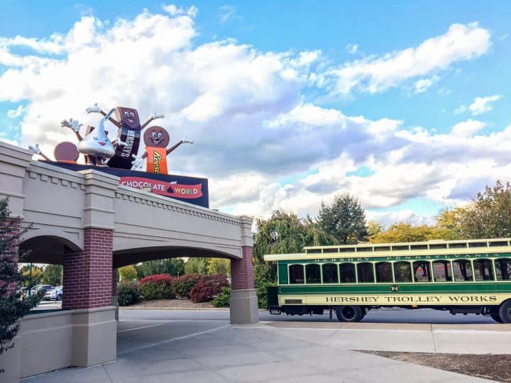 Chocolate World entrance and trolley stop