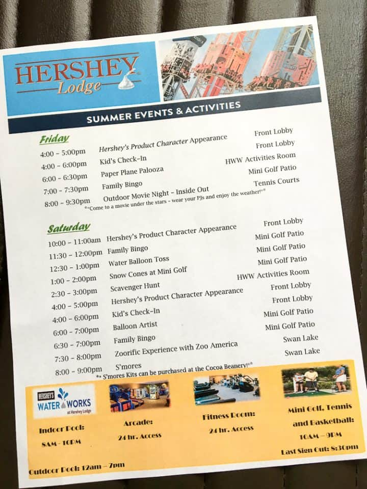 Hershey Lodge Resort events and activities