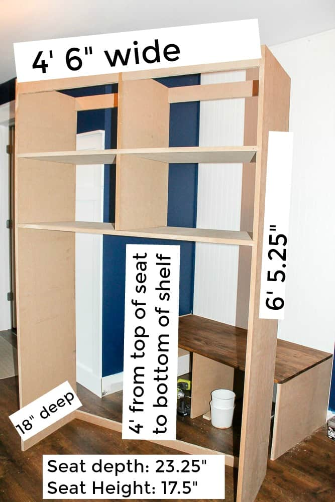 Measurements to build DIY mudroom coat bench with cubbies step by step
