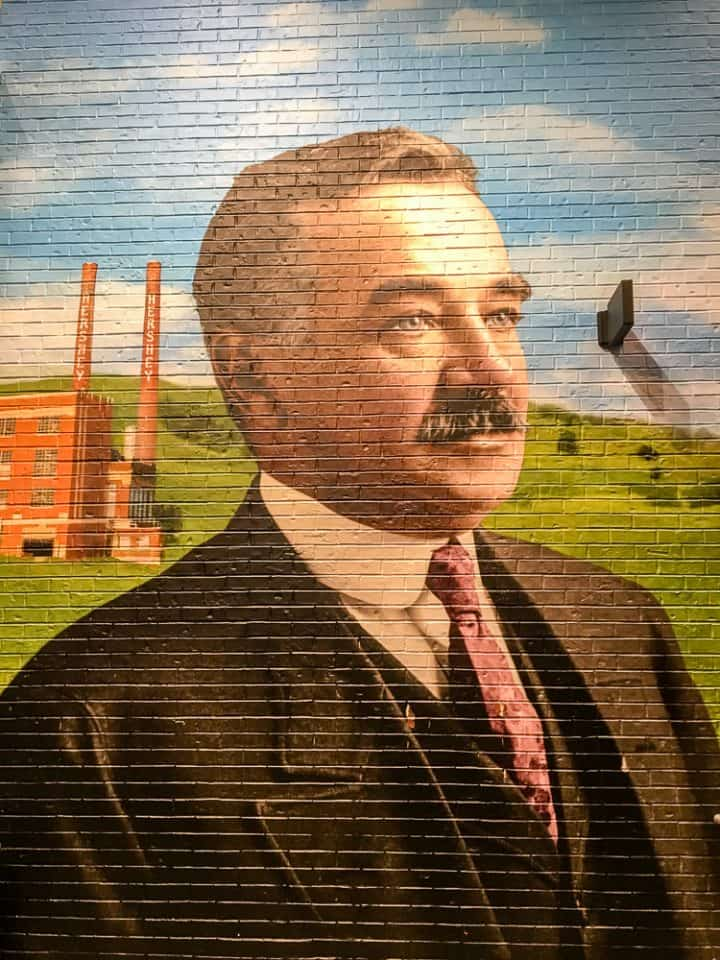 Milton Hershey mural in Chocolate World