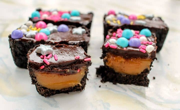Caramel filled mini ganache candy bar baby shower party favor