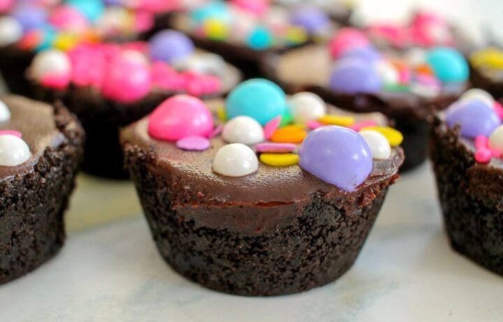 Caramel filled mini ganache tart party favors