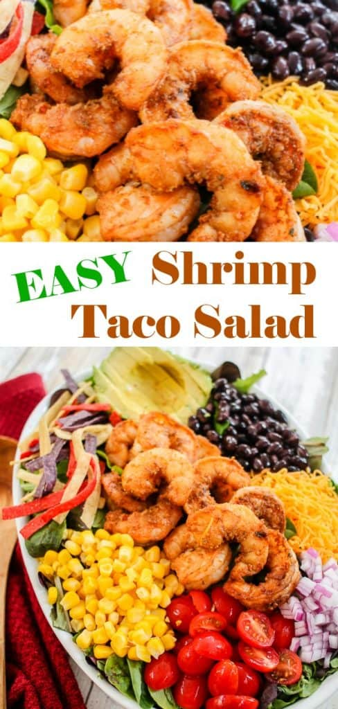 Easy Shrimp Taco Salad Recipe with toppings