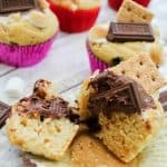 Easy S'mores muffins recipe with marshmallows and chocolate
