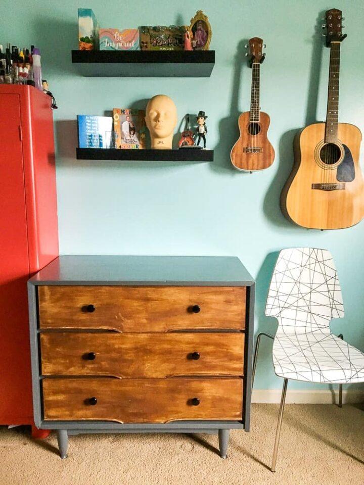 modern rustic DIY dresser makeover
