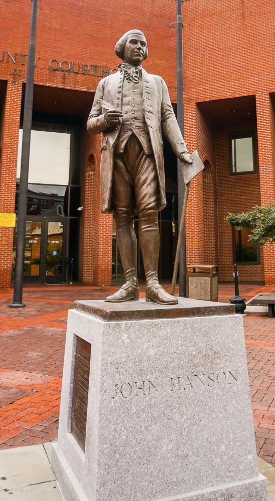 John Hanson statue in Frederick MD