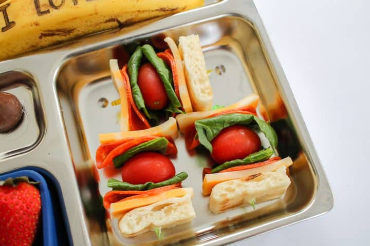 Pizza Shish Kebobs bento lunch box ideas for kids