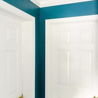 master bedroom makeover with doors and crown molding