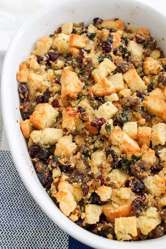 Cornbread Sausage Stuffing Cranberries recipe Thanksgiving-2