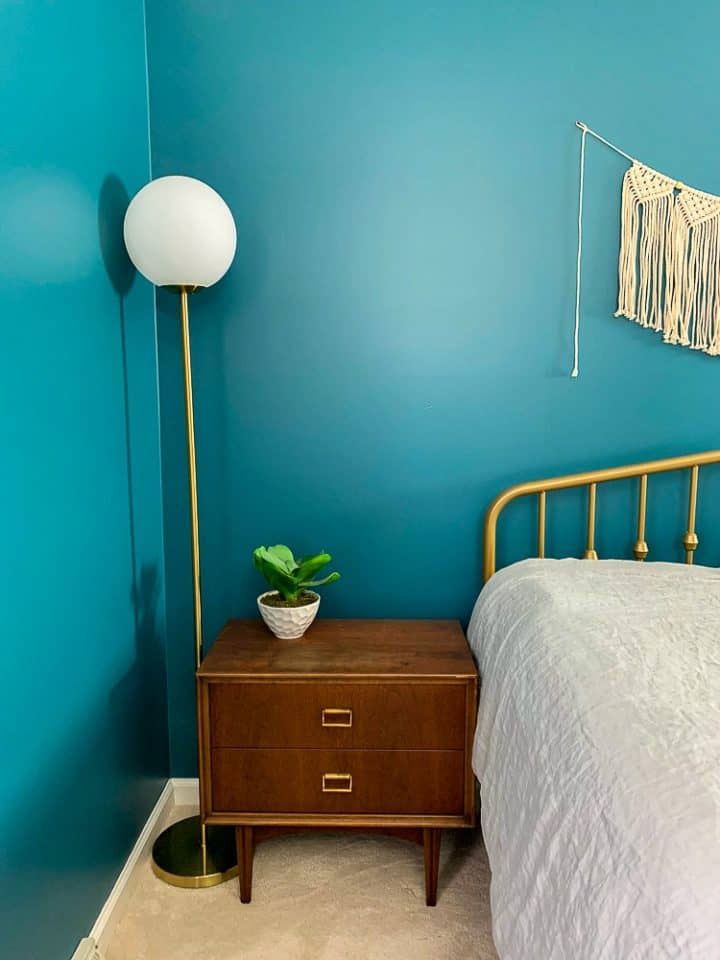 master bedroom makeover gold light fixture