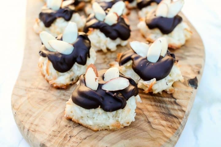 Almond Coconut Macaron Cookies Dipped Recipe-3