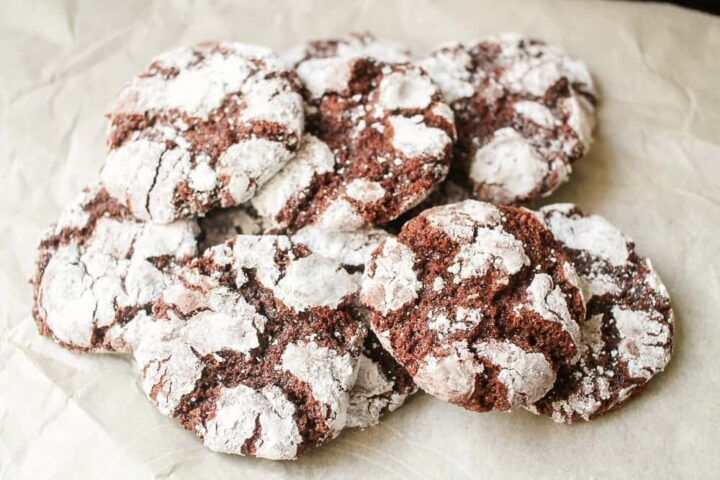 Chocolate Fudge Crinkle Cookies with powdered sugar