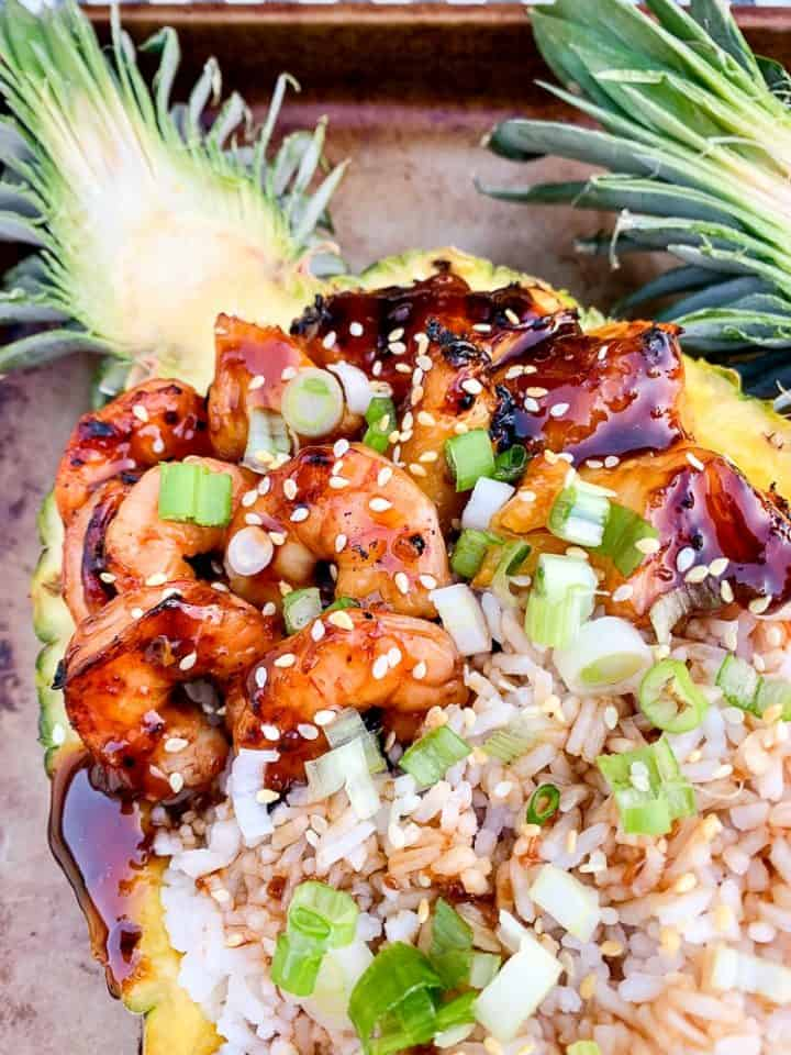 Grilled teriyaki shrimp pineapple boat recipe