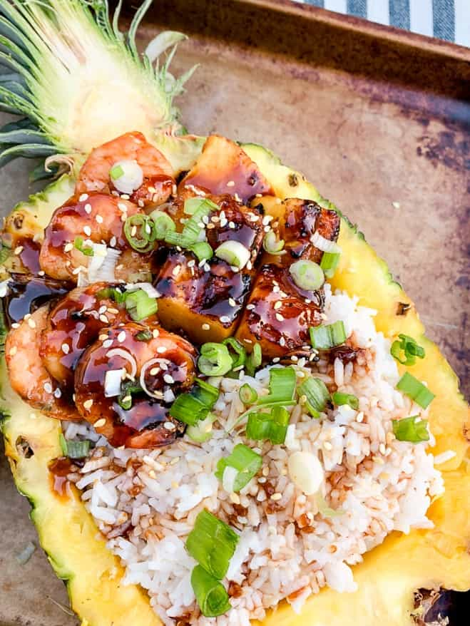 Grilled teriyaki shrimp pineapple boat recipe with green onions-2