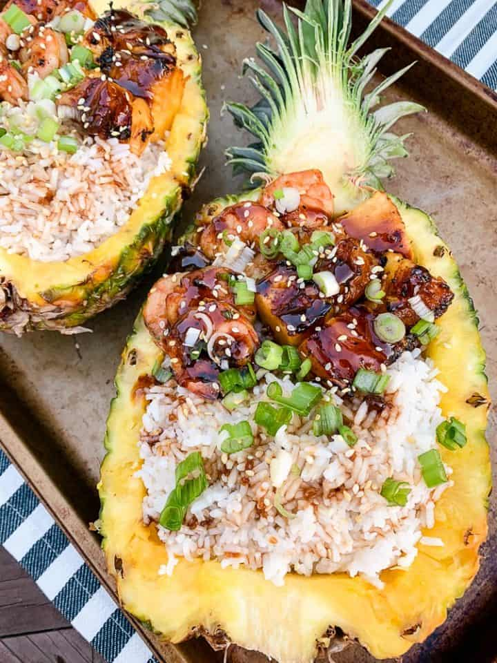 Grilled teriyaki shrimp pineapple boat recipe with green onions-4