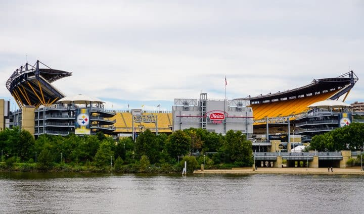 Heinz Field from a boat in Pittsburgh