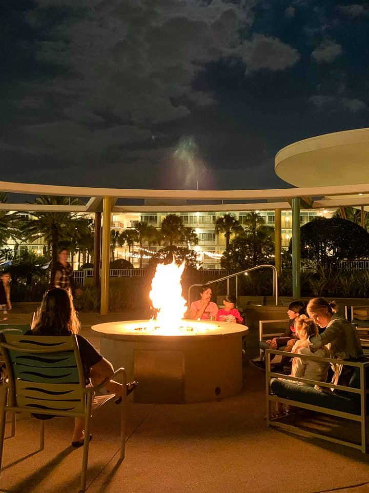 evening bonfire at Cabana Bay Beach resort