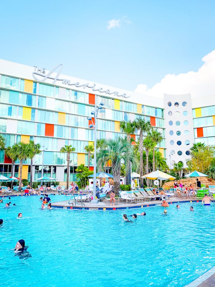 Cabana Bay Beach Resort pool with colorful building in background