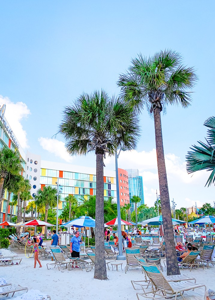 sand beach at the Cabana Bay Beach Resort pool
