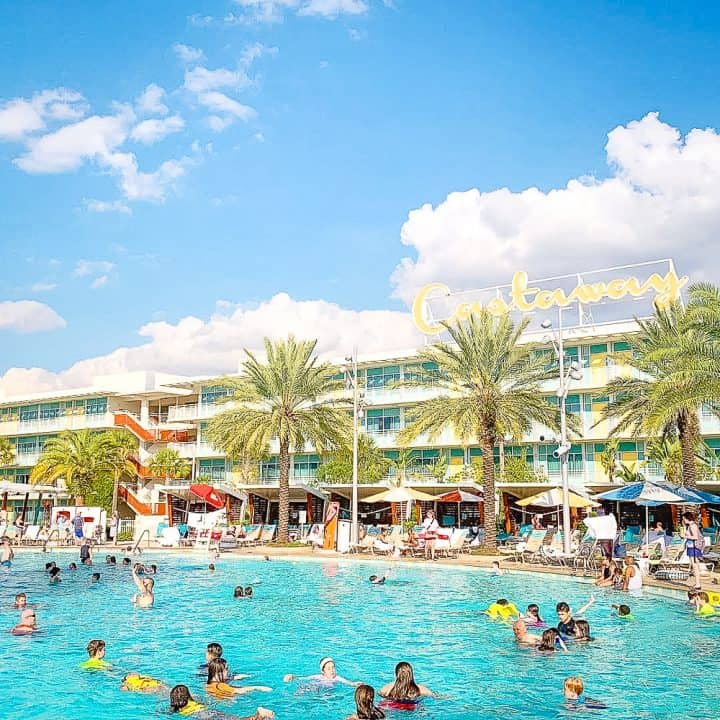 pool at Cabana Bay Beach Resort with hotel in the background