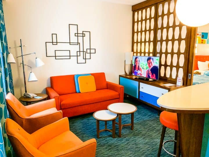 retro living room in a family suite at Cabana Bay Beach Resort