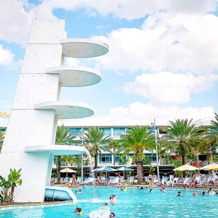 white dive tower at Cabana Bay Beach Resort's pool