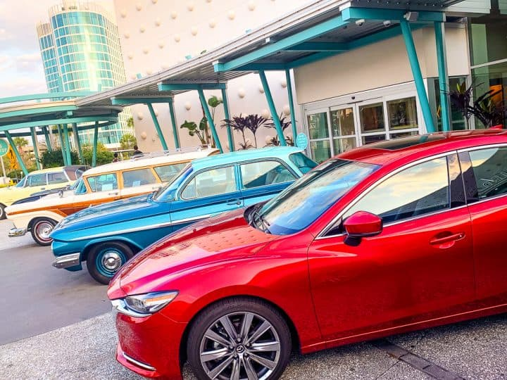 Mazda 6 signature car parked with retro cars at Cabana Bay Beach Resort in Orlando