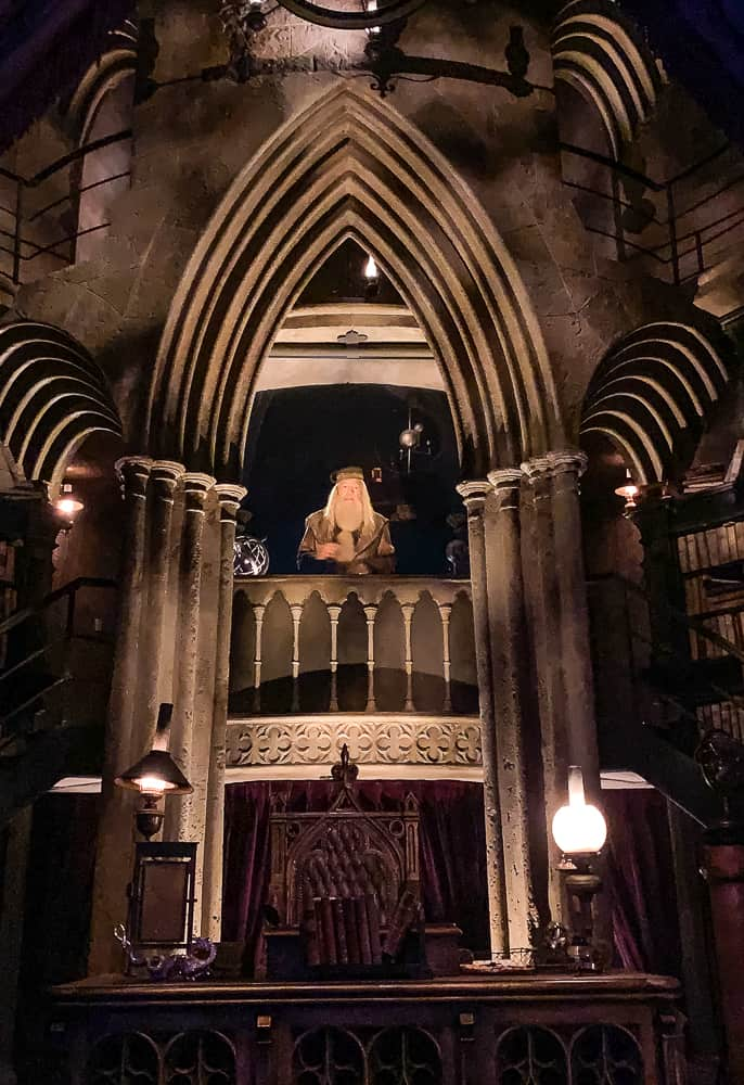 Dumbledore in the Hogwarts Castle at Universal's Islands of Adventure