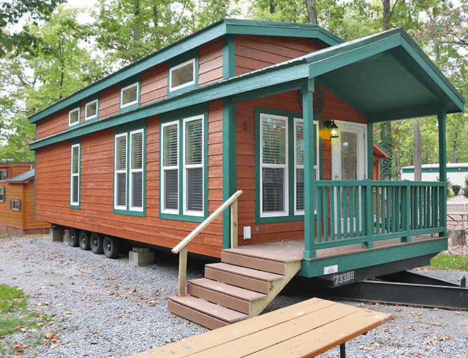 full service cabin at Yogi Bear Jellystone Campground in PA