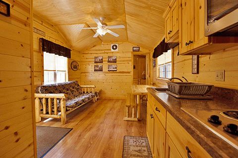 Inside a rental cabin at Yogi Bear Campground PA