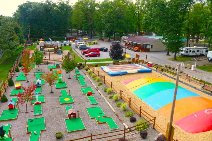 Mini golf and jump park at Yogi Bear jellystone campground