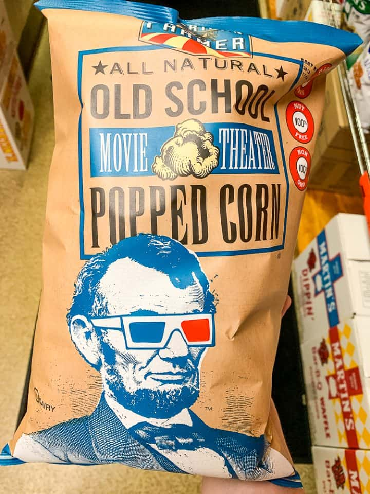 popcorn bag with Abraham Lincoln's face from Martin's Snacks