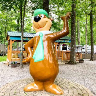 Yogi Bear statue at Jellystone park campground in western PA