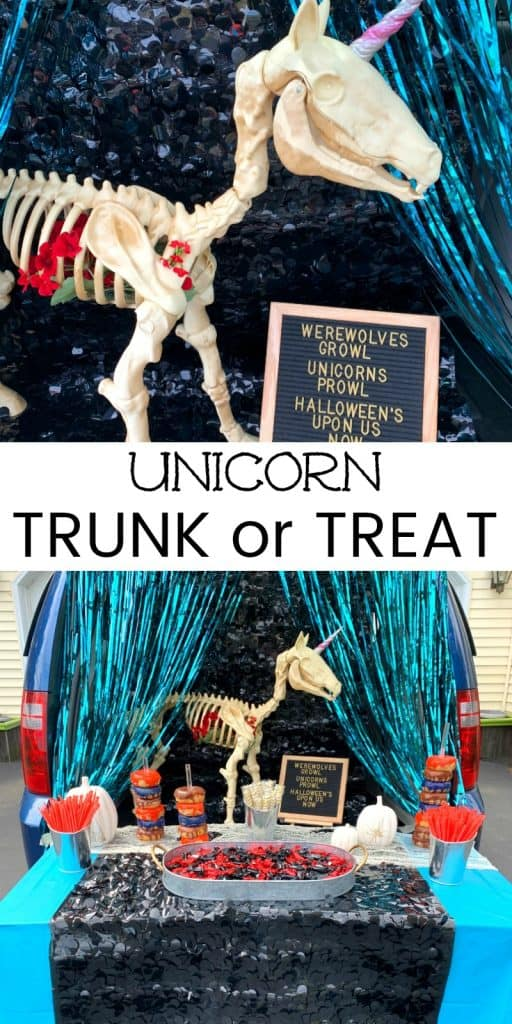 unicorn themed trunk or treat party for Halloween