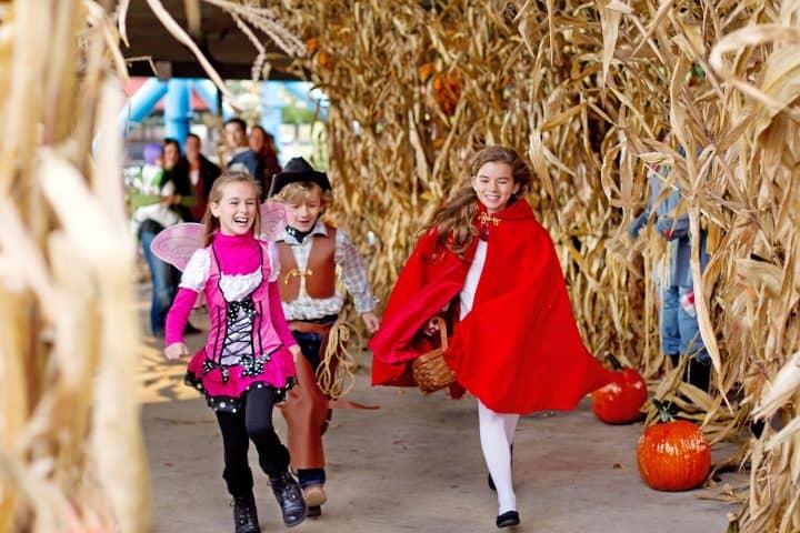 kids in Halloween costumes at hersheypark