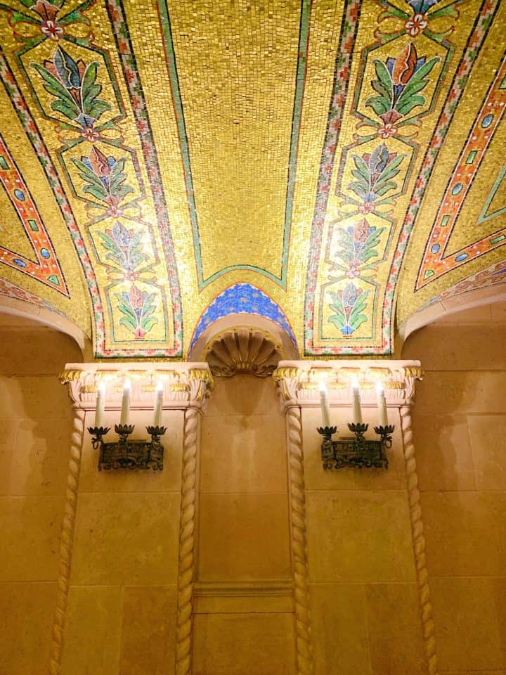 gold tile ceilings with arches at the Hershey Theatre