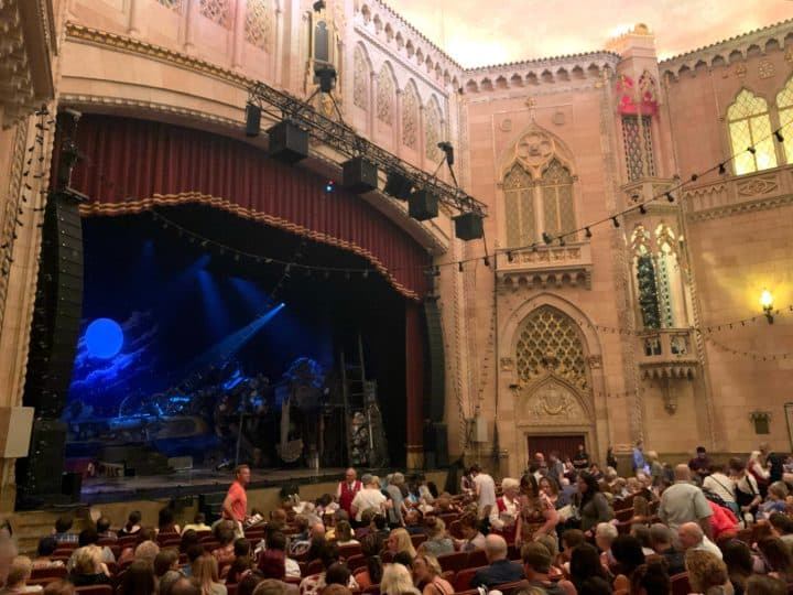 Inside of the Hershey Theatre with seats and a view of the stage