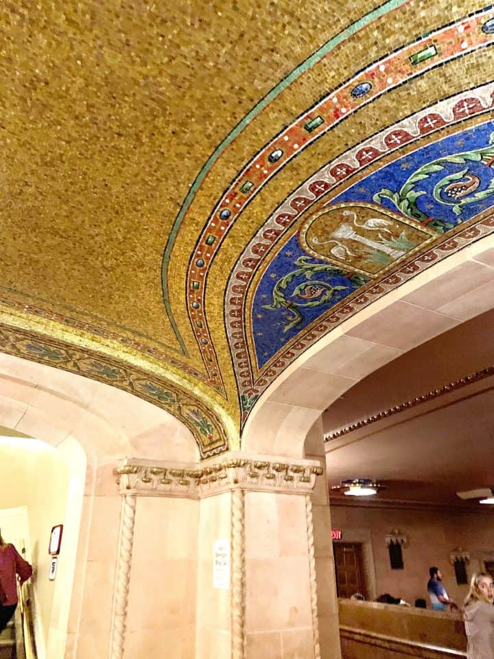 gold and blue tile ceiling at the Hershey theatre