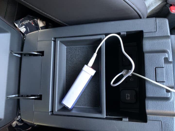 USB ports in a car console