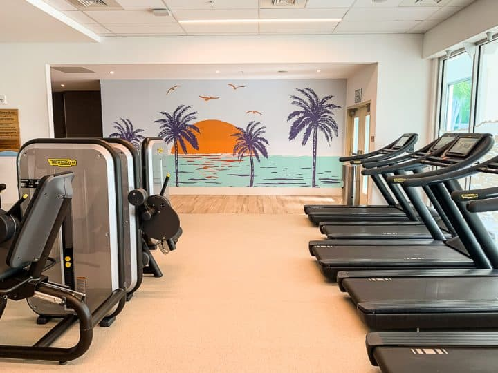 gym with treadmills at hotel