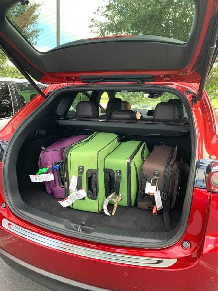4 suitcases in trunk of mazda cx-5