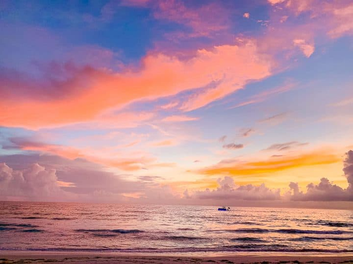pink and blue sunset over the gulf coast water
