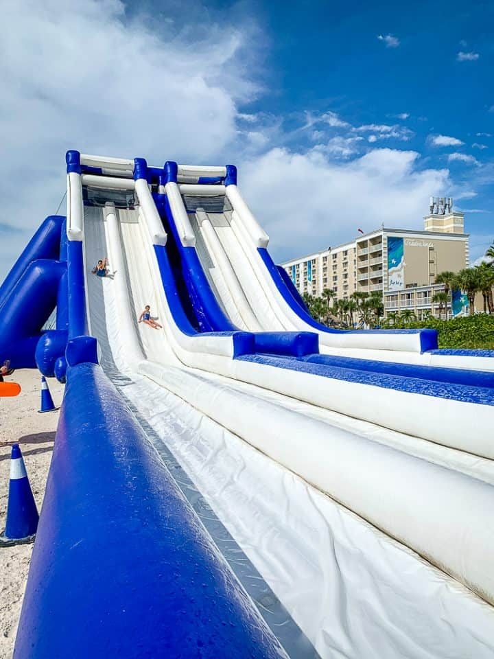 inflatable blue and white slide