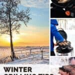 "A Pinterest pin with collage of 4 photographs showing grilled food on a BBQ in the winter, as well as a snowy scene in the countryside in winter. The text says, ""Winter Grilling Tips."""