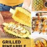 A pinterest pin with the text Grilled Pineapple Boats. The image is a collage showing photos of a teriyaki shrimp pineapple recipe.