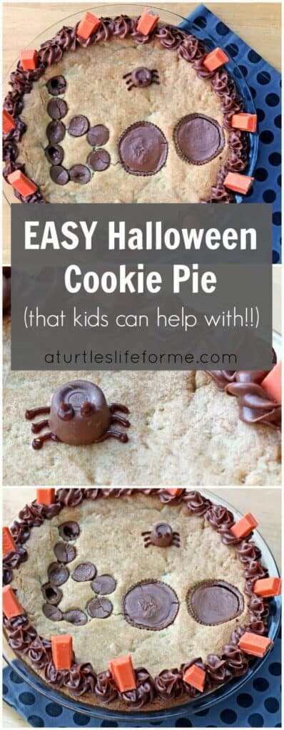 A pinterest vertical collage image with the text Easy Halloween Cookie Pie (that kids can help with) featuring shots of a cookie pie decorated with the word BOO made out of chocolate rolos and Peanut Butter Cups and a spider made from a Rolo and frosting