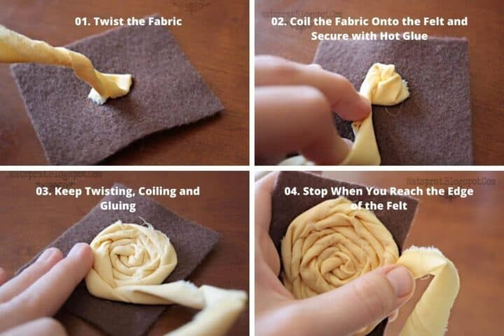 A horizontal collage of 4 images showing step by step how to make fabric rosettes