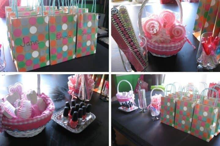 A collage showing 4 images from a spa party for kids themed birthday party. The favor table includes bags with each attendees names on them, nail files, towels, foot scrub brushes, lip gloss and nail polish.